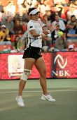 Li Na of China playing at the Qatar Total Open in Doha, February 23, 2008, when she lost to Vera Zvonareva in the semi-final