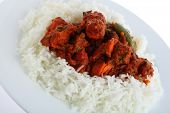 A plate with chicken tikka masala on a bed of white basmati rice, on a plate, photographed at an angle