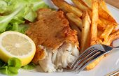 A dinner of fish and chips (or french fries) served with a salad of garden-fresh lettuce, rocket and