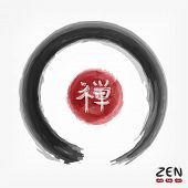 Enso Zen Circle With Kanji Calligraphic ( Chinese . Japanese ) Alphabet Translation Meaning Zen . Wa poster
