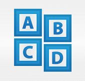 Vector Alphabet Letters In Blue Boxes