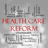 stock photo of mandates  - Health Care Reform Word Cloud Concept in with a Bokeh background with great terms such as healthcare politics courts insurance costs business repeal and more - JPG