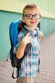 Time For School. Happy Boy.
