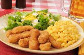 Breaded Chicken Strips With Macaroni And Cheese