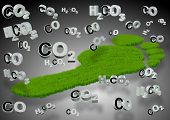 stock photo of carbon-footprint  - A footprint made from grass with carbon compounds formulas around it - JPG