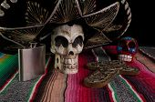 Day Of The Dead Skull, Sombrero, Cross, & Tequila Flask
