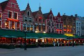 Night Market Square In Bruges