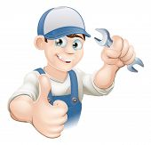 image of dungarees  - Illustration of a happy plumber mechanic or handyman in work clothes holding a spanner and giving thumbs up - JPG