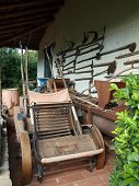 Historical Agriculture Tools And Objects Collection  In Old Farm