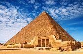 picture of burial-vault  - Ancient egyptian pyramid in Giza against blue sky - JPG