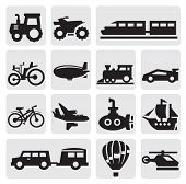 image of sailfish  - Vector black transportation icons set on gray - JPG