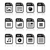 File type black icons with shadow set - zip, pdf, jpg, doc