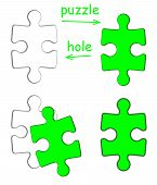 Puzzle piece and puzzle hole