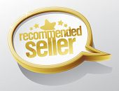 Recommended seller shiny speech bubble.