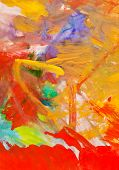 Child's Painting - Red And Yellow Gouache Brush Strokes