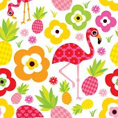 stock photo of flamingo  - Seamless exotic pineapple and flamingo kids illustration summer background pattern in vector - JPG