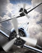 stock photo of propeller plane  - Dramatic scene on the sky - JPG