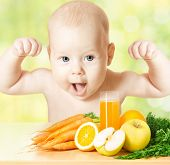 Strong Baby Fresh Fruit Meal And Juice Glass. Healthy Vitamin Vegetable Food Diet