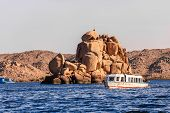 pic of aswan dam  - Island in lake nasser at aswan - JPG