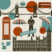 London Landmarks, Symbols and Icons - Set of famous London landmarks and icons, including Westminster Palace, London Bridge, Big Ben, double decker bus and English Bobby