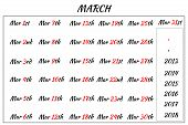 March Month Dates