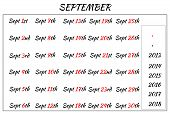 September Month Dates