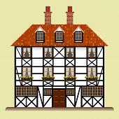 Fachwerk Haus traditionelles Häuschen isoliert