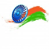 Indian Independence Day background with 3D Ashoka wheel and saffron and green colors on white background.