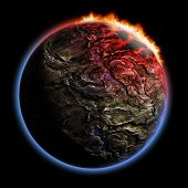3D Render Planet With Fire Corona Effect
