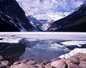 Partly frozen Lake Louise, Canada.