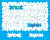 Blank jigsaw with missing pieces and the words success and failure. Individual pieces can be moved a