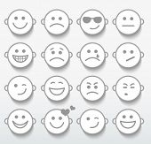 image of caricatures  - Set of faces with various emotion expressions - JPG