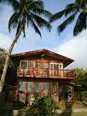 Beach Side Of Red Beach House With Tall Coconut Trees