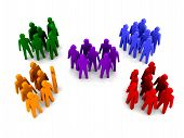 Different groups of people. Concept 3D illustration