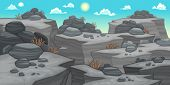 Landscapes with rocks. Cartoon and vector illustration.
