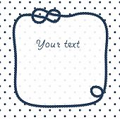 Navy blue rope knots frame for your text on dots white background, vector