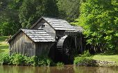 stock photo of virginia  - Mabry mill is working grist mill on the Blue Ridge Parkway - JPG