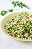 pic of tabouleh  - Bulgur salad with herbs and fresh vegetables - JPG