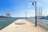 GDYNIA, POLAND - MAY 19: Pier at the Baltic Sea in Gdynia on 19 May 2013. Gdynia is an important sea