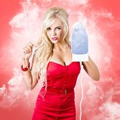 Smoking Hot Blond Cleaning Woman With Red Hot Iron