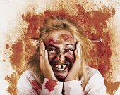 Chilling Female Halloween Spook. Grunge Horror