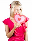 Cute Woman Biting Big Red Love Heart