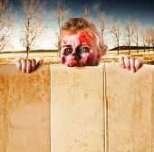 Halloween Monster With Empty Board. Peek A Boo
