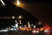 Rainy Evening Behind A Car Window
