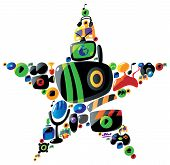 Colorful Entertainment And Music Icons In Star Shape