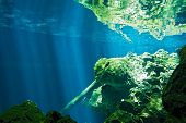 stock photo of cenote  - View on the underwater rock  - JPG