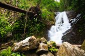 Beautiful Waterfall In The Jungle Of Doi Inthanon In Thailand