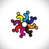 Concept Children Together Or Community Unity- Vector Graphic