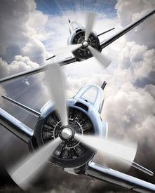 stock photo of fighter plane  - Dramatic scene on the sky - JPG