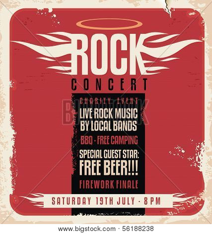 Rock concert retro poster poster